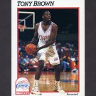 1991-92 Hoops Basketball #376 Tony Brown - Los Angeles Clippers