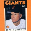 1986 Topps Traded Baseball #093T Jeff D. Robinson - San Francisco Giants