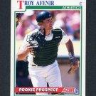 1991 Score Baseball #745 Troy Afenir RC - Oakland Athletics