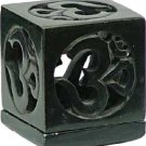 Black Soapstone Om Tealight Holder