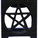 Pentacle Soapstone Oil Burner - black- 3.25 In