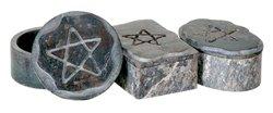 Pentagram Soapstone Boxes - Set of 3