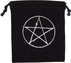 Pentacle Black Velvet Embroidered Bag - 4x3 - metaphysical
