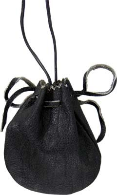 Black Leather Spirit Spell Pouch - 2.75 x 3.50 - metaphysical