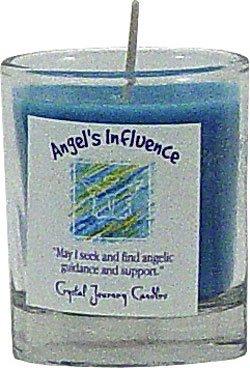 Soy Herbal Angels Influence Candle - Filled Votive Holder -Crystal Journeys Candles