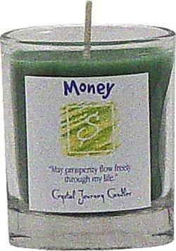 Soy Herbal Money Candle - Filled Votive Holder -Crystal Journeys Candles