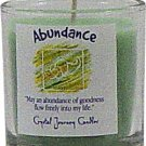 Soy Herbal Abundance Candle - Filled Votive Holder -Crystal Journeys Candles