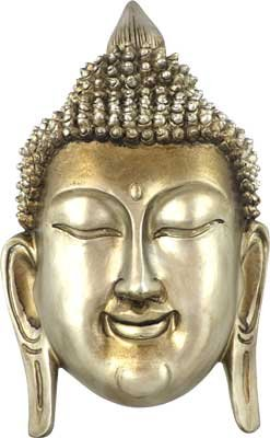 Silvery Metal Buddha Head Wall Plaque - metaphysical