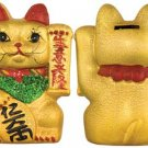 Lucky Cat Porcelain Bank - 6 in. tall - feng shui
