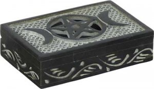 Black Soapstone Triple Moon Box - Wiccan - tarot, jewelry, scented beads holder - 4X6 inch