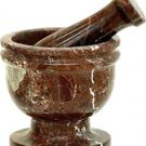Marble Red-Brown Mortar and Pestle for herbs, spells, food - 3.5 inch diameter - metaphysical