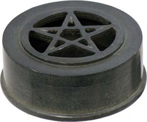 Black Soapstone Pentacle Box - round - incense or trinket holder- Pagan