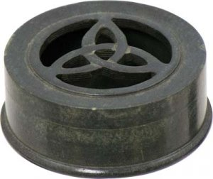Black Soapstone Triquetra Box - round - incense or trinket holder- Pagan - Wiccan