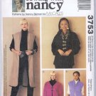 McCall's 3753 Sewing with Nancy Misses' Unlined Vests Jackets Sewing Pattern Size S M L XL Uncut