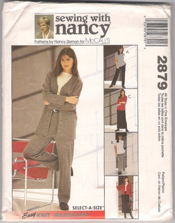 McCall's 2879 Sewing With Nancy Women's Easy Knit Wardrobe Pattern Size S M L XL Uncut