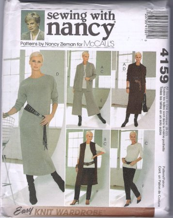 McCall's 4159 Sewing with Nancy Pattern Easy Knit Wardrobe Dress Duster Pants S M L XL Uncut