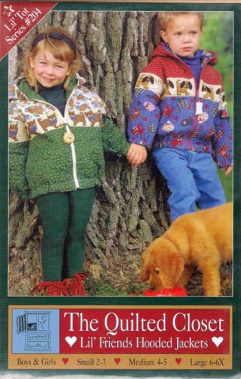 Sewing Pattern Lil' Friends Hooded Jackets Boys or Girls Size Small Medium Large 2 3 4 5 6 6X