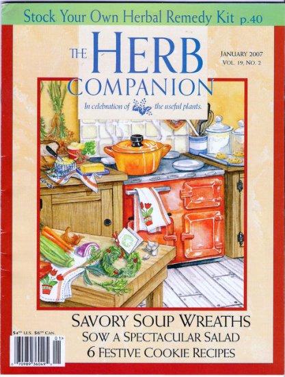 Herb Companion Magazine January 2007 Herbal Remedy Kit Soup Wreaths Holiday Cookies Salad Garden