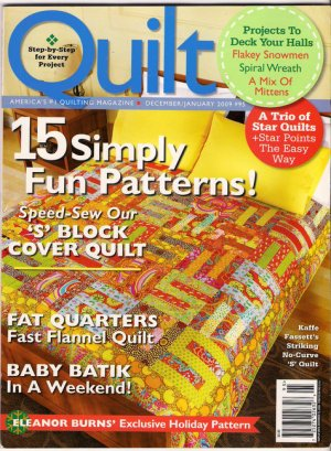 Quilt Magazine December January 2009 Kaffe Fassett Christmas Projects Star Quilts Fast Flannel Quilt
