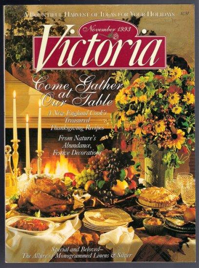 Victoria Magazine November 1993 New England Thanksgiving Recipes Monogramming Needlepoint Studies