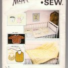 Kwik Sew Pattern 976 Appliqued Patchwork Embroidered Baby Crib Quilts Bibs Tooth Fairy Pillows Uncut
