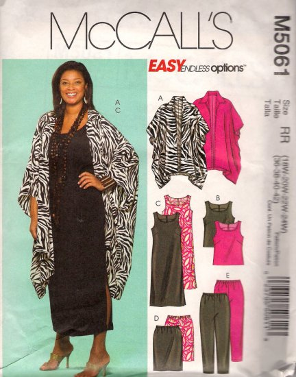 McCall's M5061 Sewing Pattern Womens Unlined Jacket Top Dress Skirt Pants Size 18W 20W 22W 24W Uncut