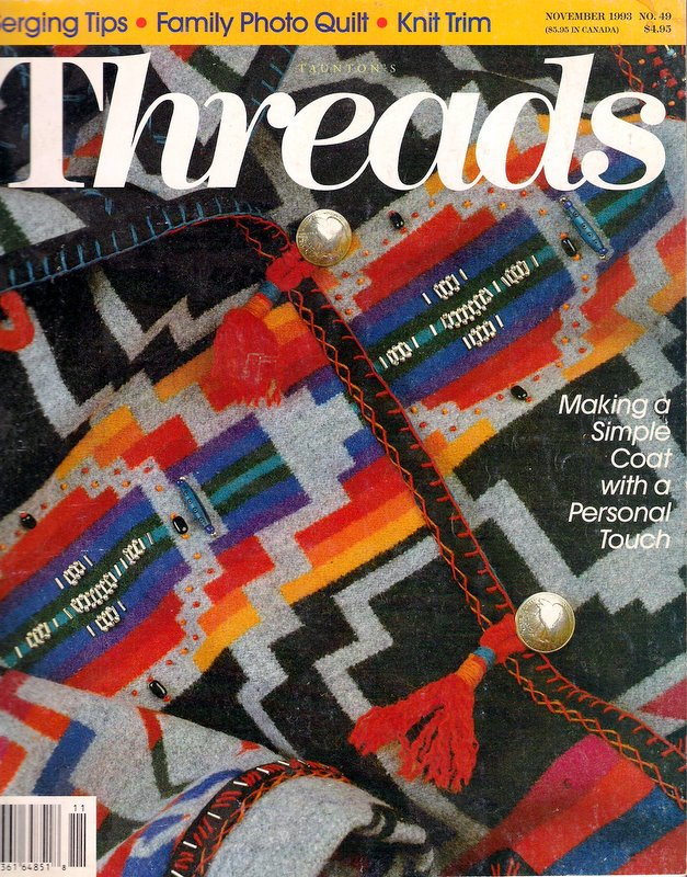 Threads Magazine No 49 Blanket Coats Serging Knitting Cording Crochet Fitting Jacket Shoulders