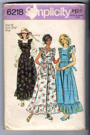 1974 Sewing Pattern Simplicity 6218 Size 10 Misses Pinafore Prairie Dress Blouse