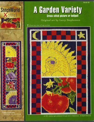 Cross Stitch Pattern Chart Leaflet Sun Garden Tomatoes Egglplant Sunflower Bell Pull Color Chart