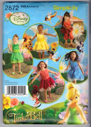 Simplicity 2872 Child's Fairy Costume Wings Disney Fairies Tinkerbell Size 3 4 5 6 7 8 Uncut