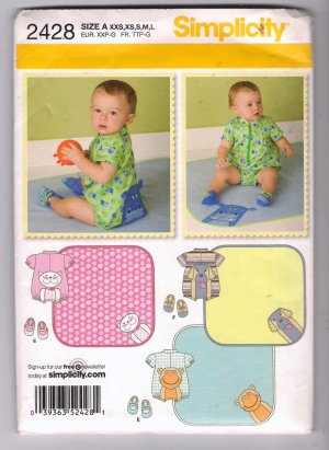 Simplicity 2428 Baby Romper with Appliques Booties Blanket Sewing Pattern Uncut Size XXS XS S M L
