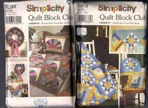 Six Simplicity Quilting Patterns Shirley Botsford Quilt Block Club 9169 9234 9253 9312 9371 9451