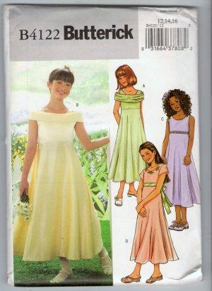 Butterick B4122 Sewing Pattern Girls' Long Dress Dress Shoulder Sleeve Options 12 14 16