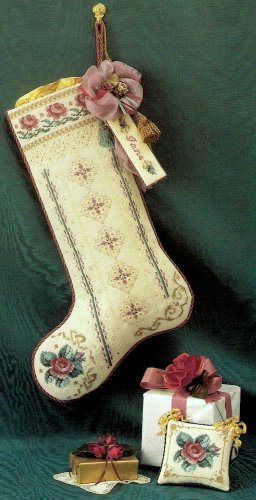 Roses for St Nicholas Christmas Stocking Ornament Cross Stitch Chart Pattern Victorian Just Nan