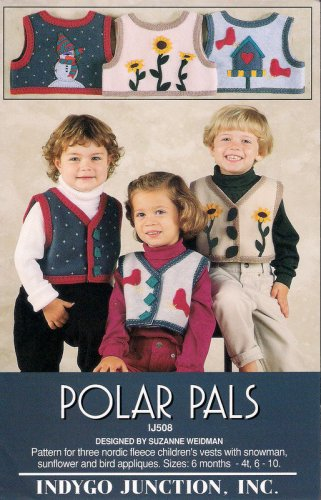 Indygo Junction Sewing Pattern Polar Pals Childrens Vest Sizes 6 mos to 4T and Child 6 8 10