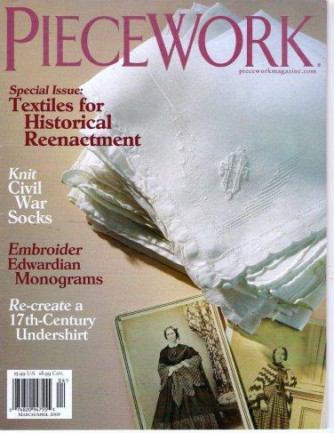 Piecework Magazine 2009 Textiles for Historial Reenactment Civil War Knitting Edwardian Monograms