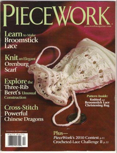 Piecework Magazine 2009 Broomstick Lace Orenburg Scarf Cross Stitch Chinese Dragons