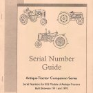 Antique Tractor Serial Number Guide for 853 Models 1911 through 1970 Old Tractor