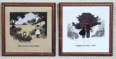 Told in a Garden Amish Kids Summer Winter Cross Stitch Pattern Chart