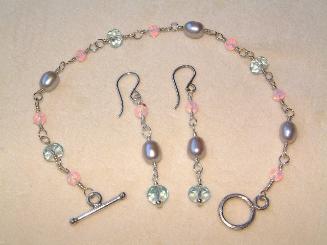 SILVER CULTURED PEARL, OPAL, AQUAMARINE STERLING SILVER EARRINGS & BRACELET SET