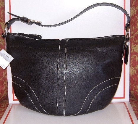 AUTHENTIC COACH SOHO BLACK LEATHER MED HOBO HANDBAG PURSE