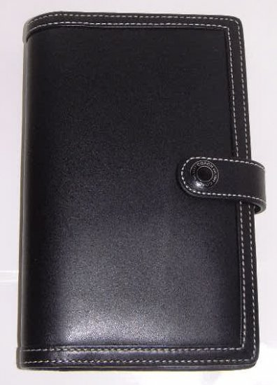 Authentic Coach 4x7 Black Leather Planner For 08/09