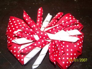 Red and White Fire Cracker Hair Bow