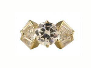 Cubic Zirconia Yellow Gold Ring