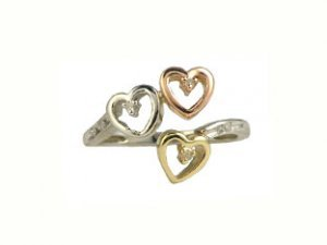 Three-Tone Gold Diamond Heart Ring
