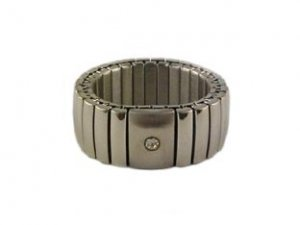 Rings: Stainless Steel Created Diamond Stretch Rings
