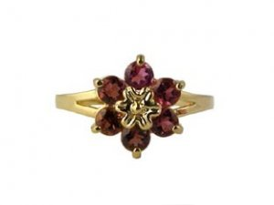 Pink Tourmaline Flower Ring, 14K Gold Jewelry