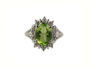 Peridot Gem Stone Ring and Diamonds, 10K White Gold