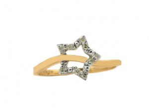 Yellow Gold and Diamond Star Ring