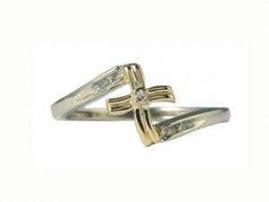 Two Tone Gold Diamond Cross Ring